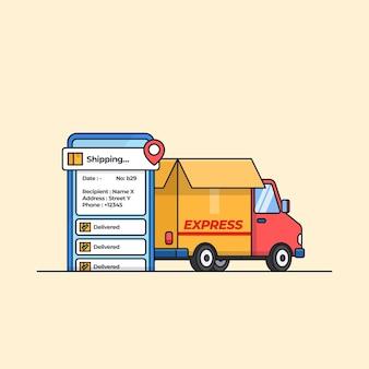 Auto per camion di consegna con app di localizzazione per l'illustrazione moderna del servizio di spedizione espresso Vettore Premium
