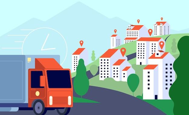 Camion di consegna in città. posta commerciale, trasporto mobile espresso veloce. servizi di localizzazione gps, illustrazione vettoriale logistica intelligente. spedizione postale commerciale, pacco di consegna a domicilio