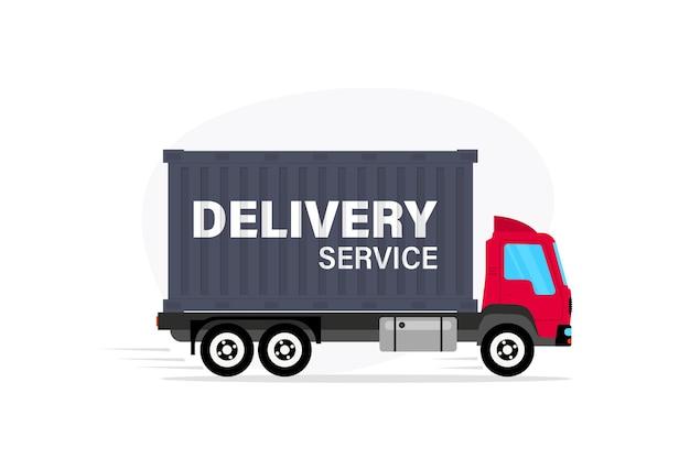 Camion delle consegne. concetto di servizio di consegna espressa. servizio di consegna online a domicilio. trasporto merce di spedizione del prodotto. consegne, furgone servizio veloce con scatole di cartone