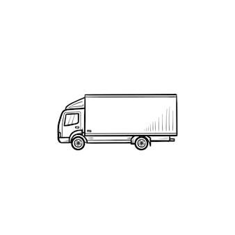 Icona di doodle di contorno disegnato a mano del camion di consegna. servizio di consegna veloce, spedizione veloce e concetto di trasporto