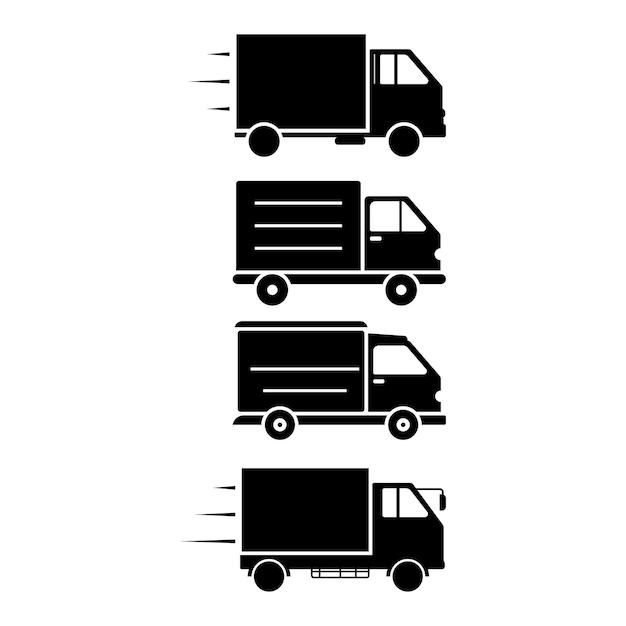 Modello di set di icone per camion di consegna