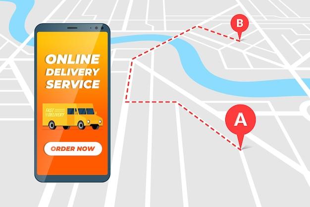 App per il servizio di ordini online di camion di consegna sullo schermo dello smartphone corriere mobile per merci logistiche o