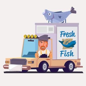 Camion di consegna con pesce crudo fresco, produzione di frutti di mare