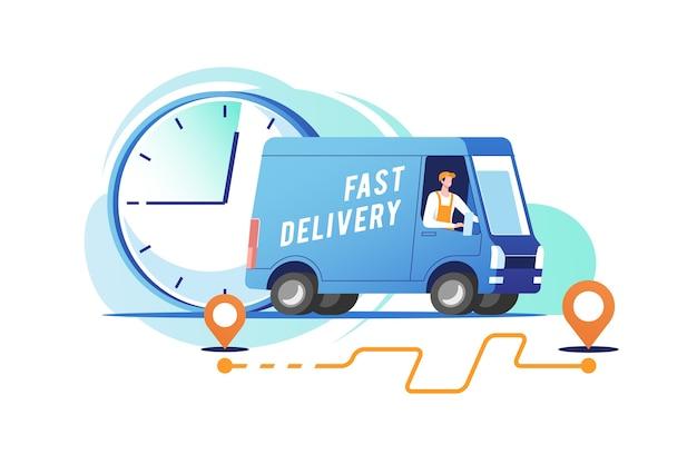 Il camion di consegna con l'uomo sta trasportando i pacchi. illustrazione.