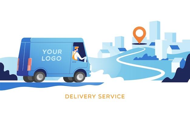 Il camion di consegna con l'uomo sta trasportando i pacchi sui punti illustrazione in linea del servizio di monitoraggio della mappa di concetto