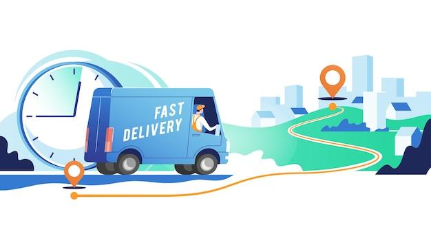 Il camion di consegna con l'uomo sta trasportando i pacchi sui punti