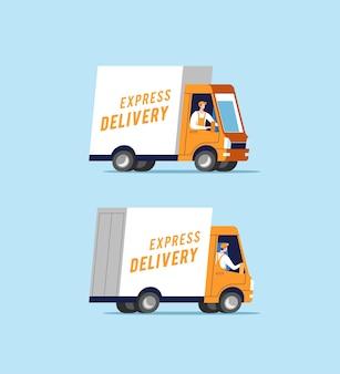 Camion per le consegne con uomini che trasportano pacchi