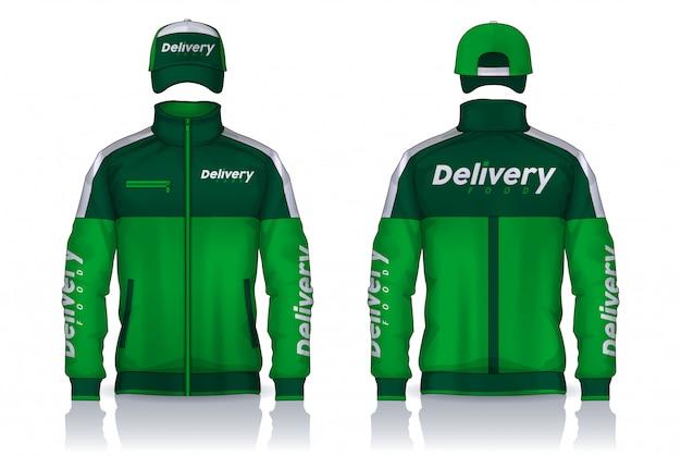 Uniforme di consegna, design di modelli di giacca e berretto, camicie da lavoro aziendali.