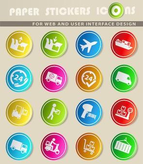 Icone vettoriali di consegna su adesivi di carta colorata