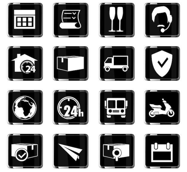 Icone vettoriali di consegna per la progettazione dell'interfaccia utente
