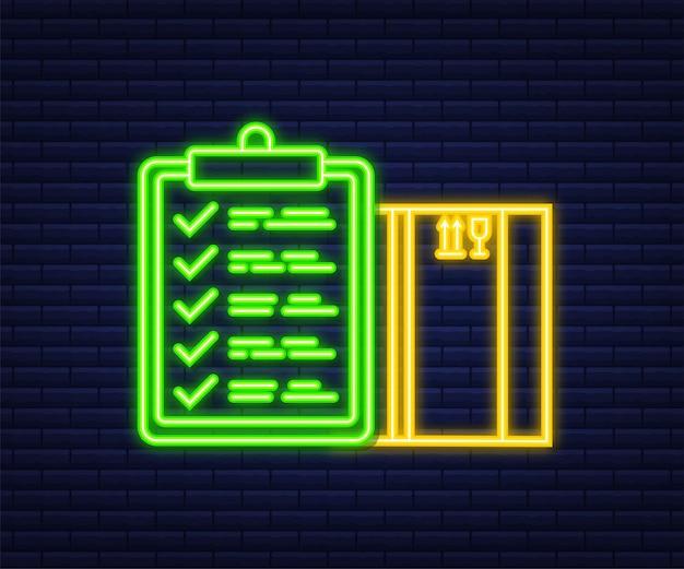 Banner del sito web di consegna. app per il servizio di consegna. icona al neon. illustrazione vettoriale di stile piatto.