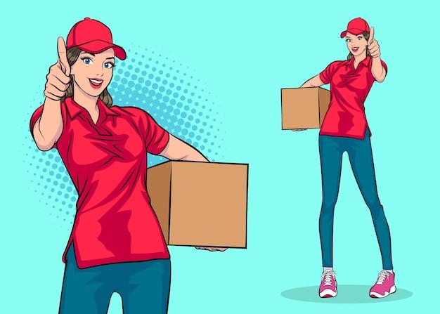 Impiegata della donna delle consegne che tiene il carattere della grande scatola pop art comic style