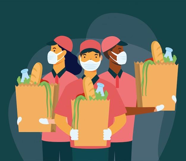 Consegna donna e uomini con maschere e design shopping bag