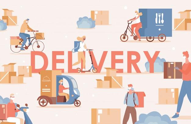 Parola di consegna poster design piatto. le persone in mascherina medica consegnano merci o cibo in bicicletta, scooter o camion. spedizione online senza contatto durante l'epidemia di coronavirus covid-19.