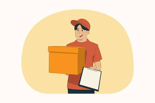Il giovane di consegna tiene la scatola di cartone vuota e la lavagna per appunti
