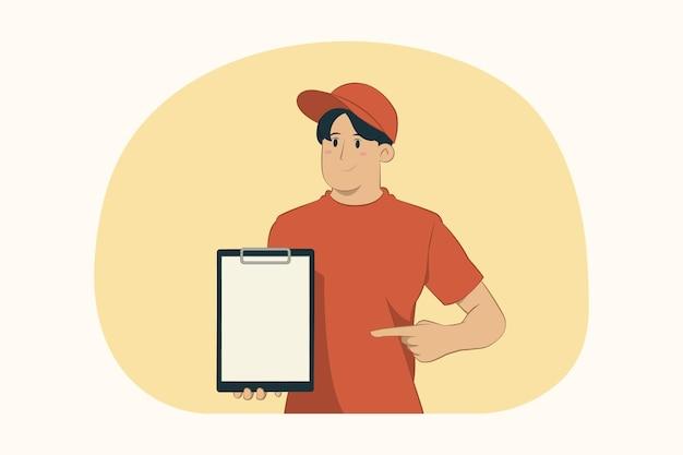 Giovane di consegna che indica il dito indice negli appunti in bianco