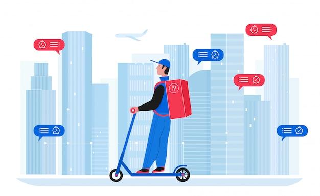 Illustrazione del fattorino. personaggio del corriere piatto del fumetto con la scatola del prodotto dello zaino che guida uno scooter elettrico, consegnando il pacco all'indirizzo della città. servizio di consegna di spedizione eco isolato