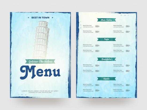 Delizioso modello di menu di cibo italiano o design flyer.