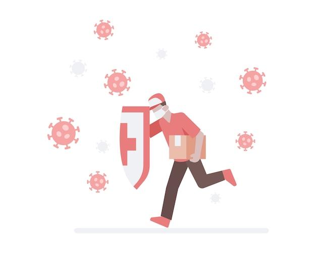 Un addetto alla consegna indossa una maschera e tiene in mano uno scudo e corre a schiantarsi contro un coronavirus per consegnare una confezione all'illustrazione del cliente