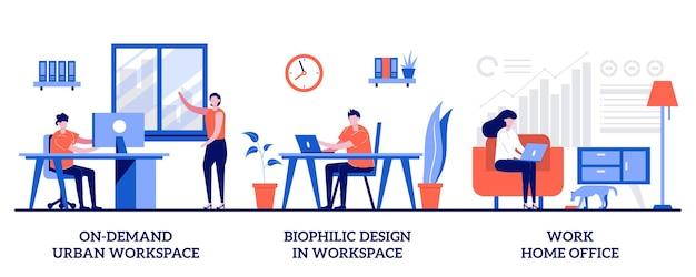 Spazio di lavoro urbano su richiesta, design biofilo, concetto di ufficio a casa con persone minuscole. set di organizzazione del posto di lavoro. coworking, sala riunioni clienti, lavoro a distanza.