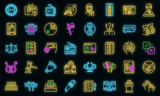 Icone della democrazia impostate vettore neon