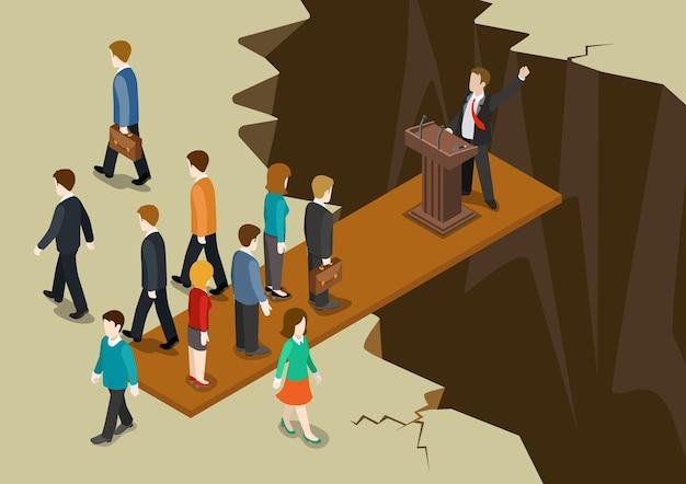 Democrazia politica sistema concetto piatto web 3d