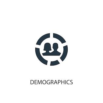 Icona di dati demografici. illustrazione semplice dell'elemento. disegno di simbolo del concetto di demografia. può essere utilizzato per web e mobile.