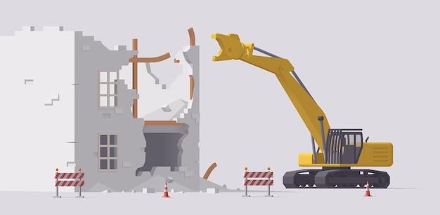 Demolizione di vecchio edificio. escavatore per demolizione