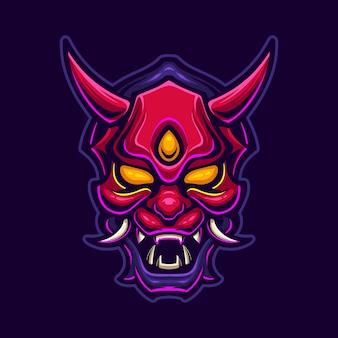Illustrazione del modello di logo del fumetto della testa del diavolo del demone. esport logo gaming