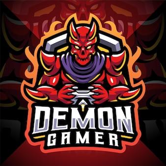 Demone gamer esport mascotte logo design