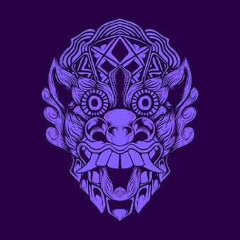Illustrazione dell'opera d'arte della maschera del demone