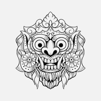 Illustrazione di progettazione della maglietta di bali indonesia della maschera del demone