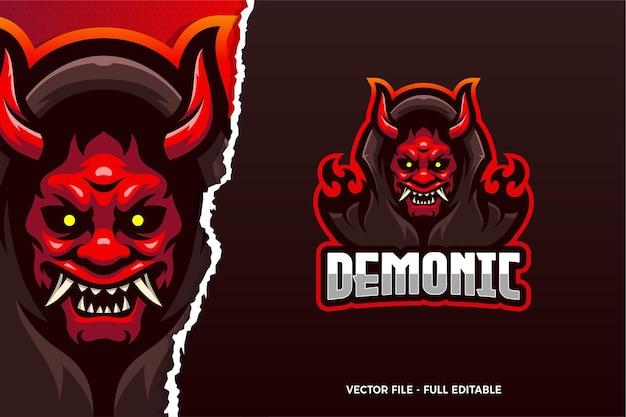 Demonic e-sport game logo modello
