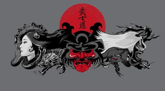 Illustrazione di demoni in stile giapponese