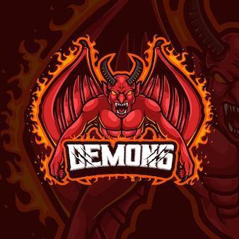 Disegno del logo del gioco esport della mascotte dei demoni