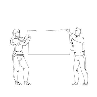 Dimostrazione tela vuota tenere manifestanti linea nera disegno a matita vettore. poster dimostrativo che tiene attivisti di giovane uomo e donna in sciopero di strada. personaggi persone pubblico protesta illustrazione