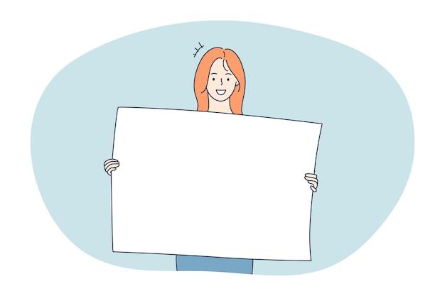 Dimostrazione, promozione, concetto di pubblicità. holding dei personaggi dei cartoni animati della giovane donna positiva