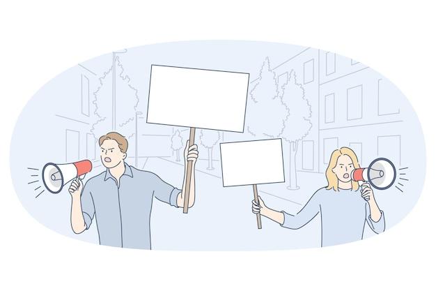 Dimostrazione, promozione, concetto di protesta