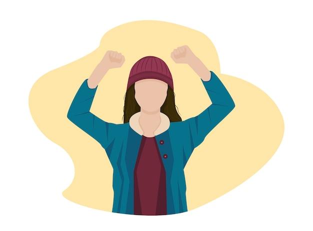 Manifestazione rivoluzione protesta pugni alzati ragazza di fronte in piedi faccia a faccia in sciopero