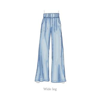 Schizzo di pantaloni femminili in denim