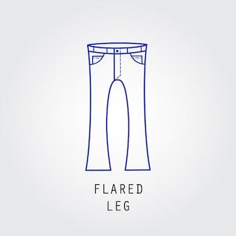 Icona di vestibilità denim. tipo di pantalone e jeans gamba svasata. siluetta dell'icona di vettore di linea.