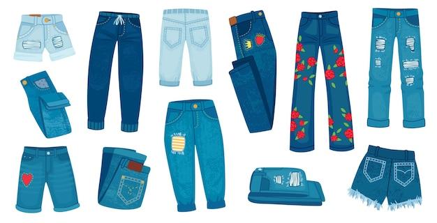 Pantaloni di jeans in denim. jeans femminili alla moda alla moda. pantaloncini e pantaloni strappati a cartone animato con toppe e texture. insieme di vettore di vestiti in stile casual. moda pantaloni di jeans, illustrazione di abbigliamento per pantaloni casual