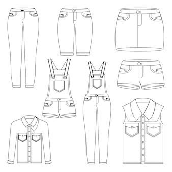 Set di vestiti da donna in denim