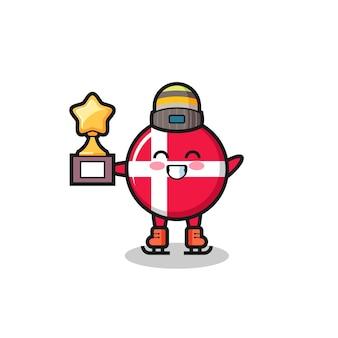 Il fumetto del distintivo della bandiera della danimarca come un giocatore di pattinaggio sul ghiaccio tiene il trofeo del vincitore, un design carino in stile per t-shirt, adesivo, elemento logo