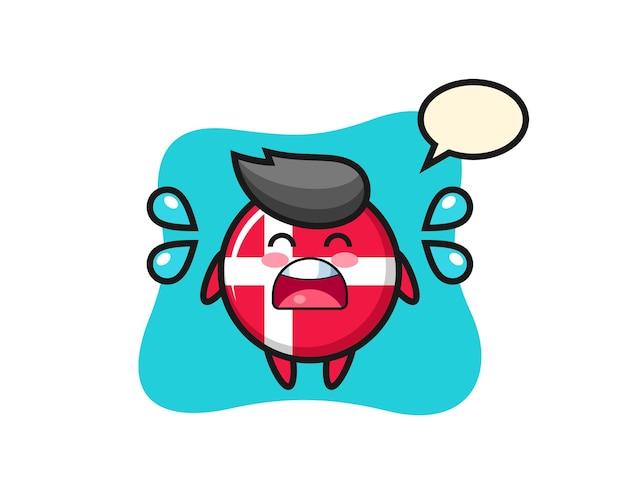 Illustrazione del fumetto del distintivo della bandiera della danimarca con gesto di pianto, design in stile carino per maglietta, adesivo, elemento logo