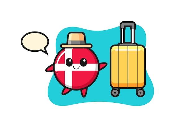 Illustrazione del fumetto del distintivo della bandiera della danimarca con i bagagli in vacanza, design in stile carino per maglietta, adesivo, elemento logo