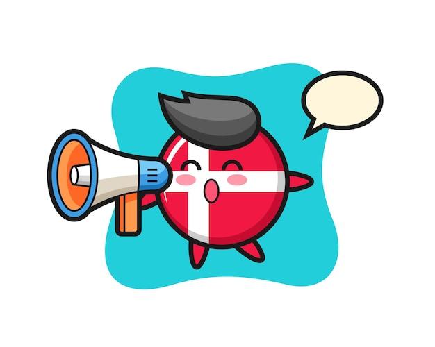Illustrazione del carattere del distintivo della bandiera della danimarca che tiene un megafono, design in stile carino per maglietta, adesivo, elemento logo