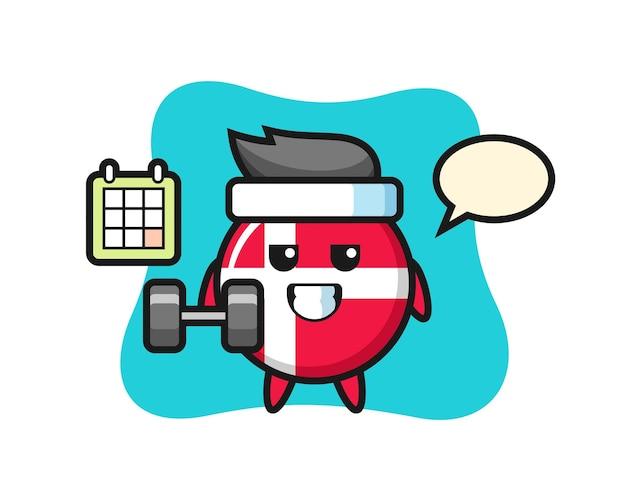 Fumetto della mascotte del distintivo della bandiera della danimarca che fa fitness con manubri, design in stile carino per maglietta, adesivo, elemento logo