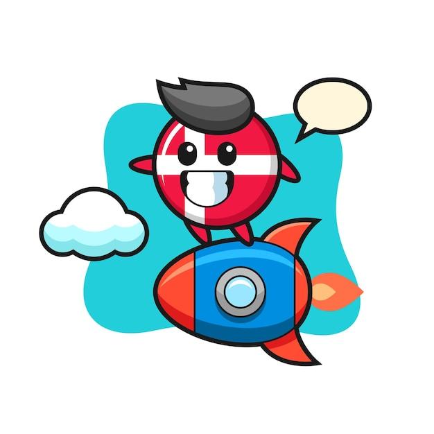 Personaggio mascotte distintivo bandiera danimarca in sella a un razzo, design in stile carino per maglietta, adesivo, elemento logo