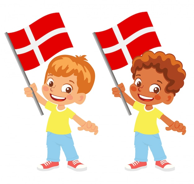 Bandiera della danimarca in mano insieme